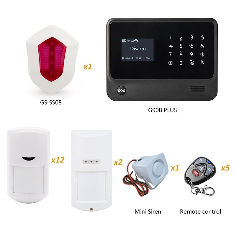 GS-G90B Plus WIFI GSM Security Home Alarm System with Flash Siren and Outdoor Waterproof PIR Motion Sensor 433mhz g90b intruder home alarm wireless security gprs gsm wifi alarm system with pir motion sensor wireless smoke detector