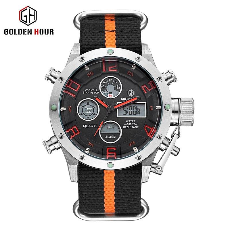 GOLDENHOUR Top Brand Sport Watch Men LED Digital Nylon Strap Dual Display Men's Watches Waterproof Quartz Wristwatches Relogio