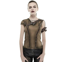 Gothic Armor Shoulder Do Old Steam Punk T Shirt Summer Cotton High Quality Tshirts Short Sleeve
