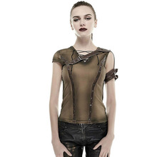 Gothic Armor Shoulder Do Old Steam Punk T-shirt Summer Cotton High Quality Tshirts Short Sleeve Tops Vintage Style Clothing