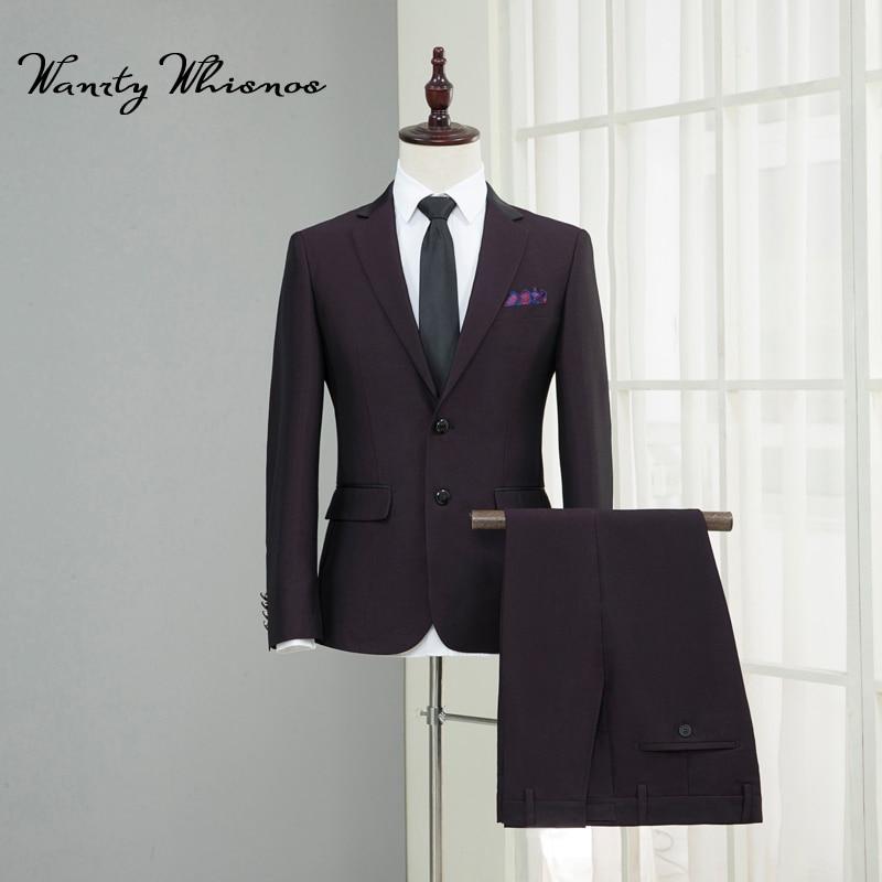 De Qualité Haute Boutons veste Deux Mens Luxe Costume Cravate Bourgogne Classique D'affaires Hommes Pantalon Costumes Slim Mâle Fit Blazers xwqqtCO