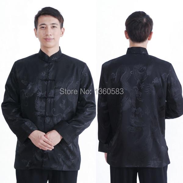 Специальное предложение бесплатная доставка Традиционный Китайский тан костюм рубашка черный мужская атласная с длинным рукавом Китайский ветер Горячей продажи одежды