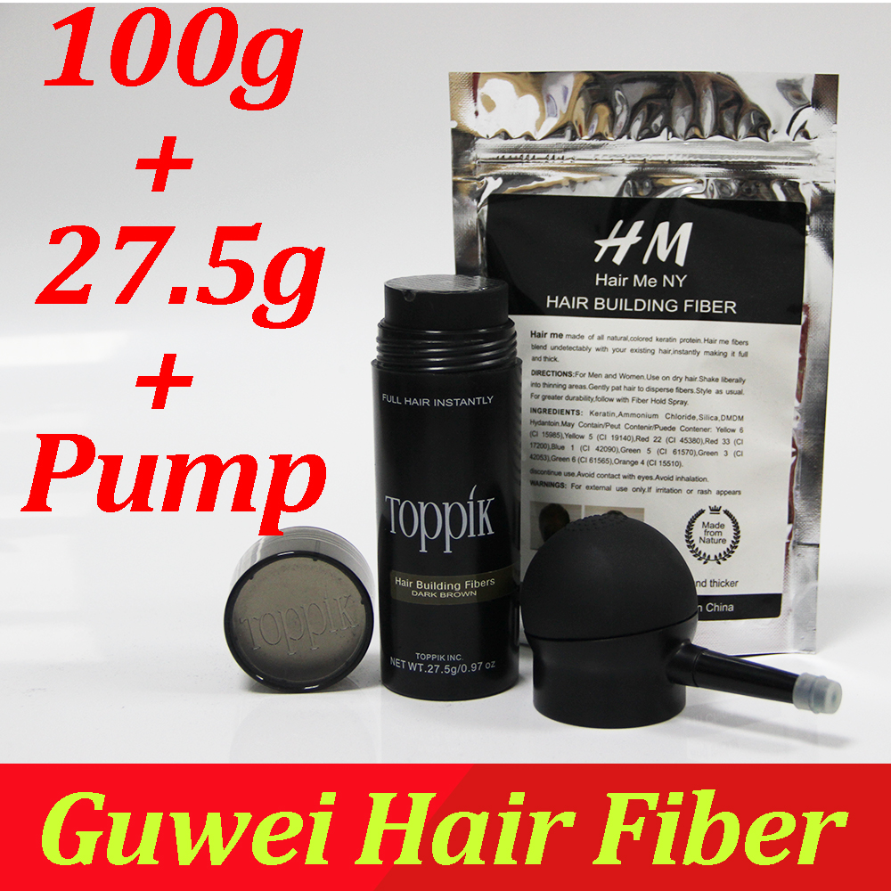 Toppik hair building fibers powder 27.5g 0.97 oz + refill bag 100g fibers + applicator/ pump a set hair loss fibers thinning ...