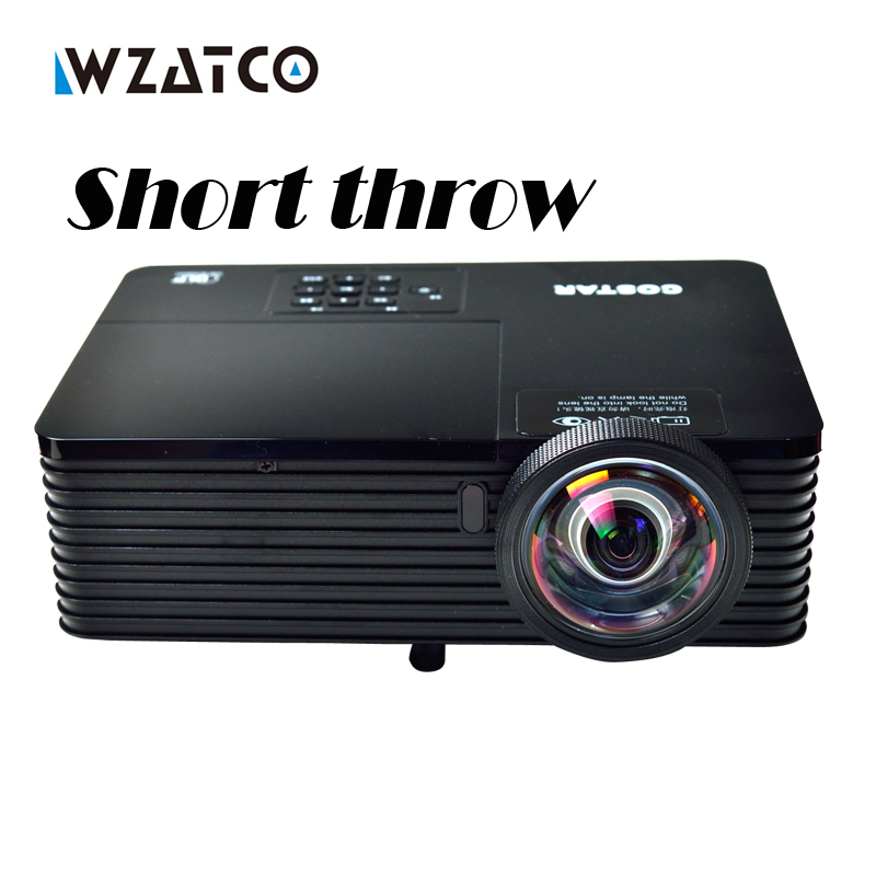 WZATCO 6000Lumens Business meeting Education Daylight Video Full HD 1080P Digital 3D DLP Short throw Projector Beamer Proyector new short throw 300inch dlp hologram 3d projector hd pc usb vga daylight 1080p rear video beamer lamp for education school