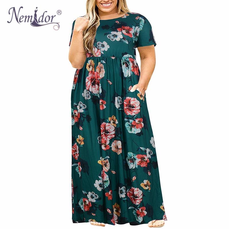 Nemidor Women Short Sleeve Loose Plain Casual Plus Size Long Maxi Dress with Pockets (5)