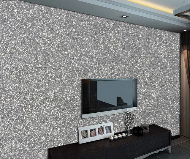 PU Silver Glitter Fabric Wallpaper Synthetic Leather Wall Paper for Wedding  Room Hotel Wall Coverings 30m 11b7f8f73754