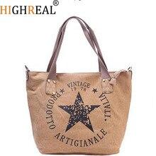 HIGHREAL Women Shoulder Bags Handbags Big Canvas Bag Travel Bag Large Capacity Women Canvas Shopping Bag