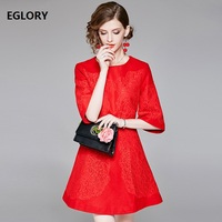Formal Party Elegant Autumn Winter Dress 2018 Women Wool Blend Lace Appliques Three Quarter Sleeve Red Dress Robe Femme Clothing