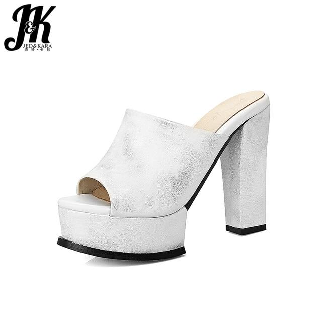 71284be2e00 JK New Handmade High Heels Ladies Slippers Peep Toe Spike Heels Pu Footwear  Platform Mules Shoes Summer Fashion Women Slides