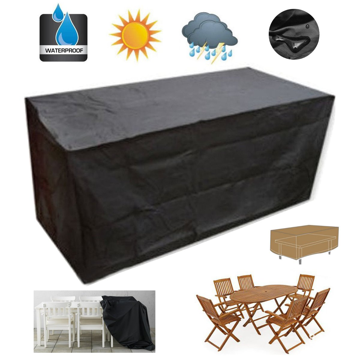 garden patio chair cover 18012074cm outdoor furniture sofa waterproof polyester pvc coated table desk black silver color