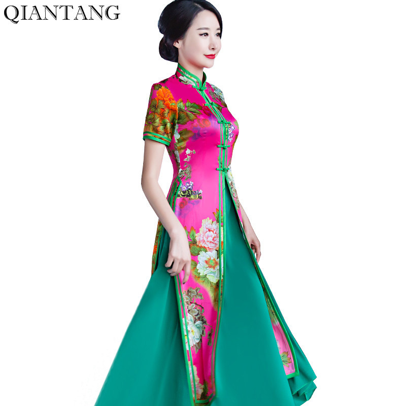 Robe Chinois De Robes jaune Style 1z5825 Rayonne Xl Mode Pink Xxl S rouge Xxxl M multi Long Arrivée Taille Femmes hot Élégante rose Blue L Cheongsam Nouvelle Qipao Light Y7w5zq7