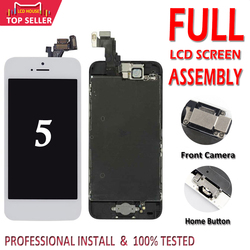 Klasy AAA LCD dla iPhone 5 5G 5S 5C ekran LCD wyświetlacz z przycisk Home + przednia kamera + głośnik pełny ekran LCD wymiana zespołu