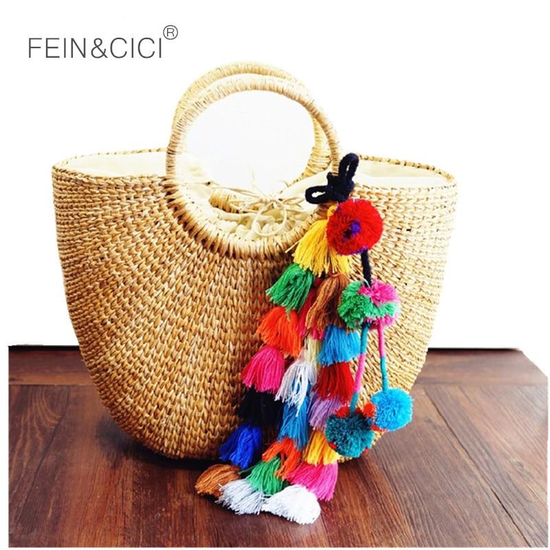 Rattan táska szalma totes táska nyári strand fonott vödör táska rojtok női kézitáska fonott 2018 új kiváló minőségű csepp szállítás
