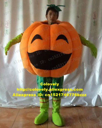 1cbd0654fe5 US $217.55 5% OFF|Delicious Orange Pumpkin Cushaw Squash Calabaza Cuaurbit  Mascot Costume Greens Adult Size With Black Curve Eyes No.6351 Free Sh-in  ...