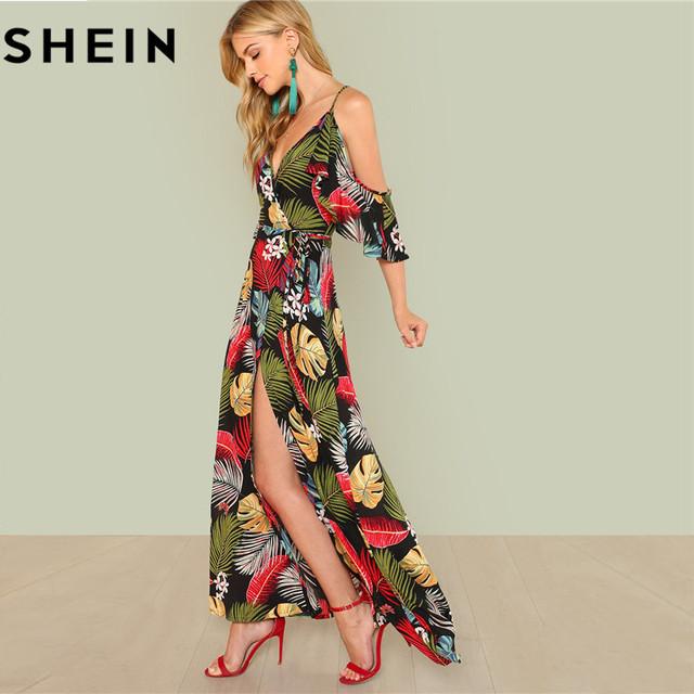 7c1963ac40 SHEIN Summer Boho Floral Print Sexy Deep V Neck Open Shoulder Maxi ...
