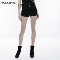 high waist Slimming Short Sexy Shorts black striped white button and straps Punk Rock OPK146