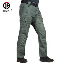 IX9 Men Tactical Pants Combat Cargo Army Zipper 9 Pocket Flexible Casual Cotton Trousers Black Active waterproof Military Pants