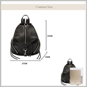 Image 3 - AVRO mochila informal de MODA para mujer, bolso de hombro de piel auténtica de gran capacidad para adolescentes, mochilas de viaje escolares