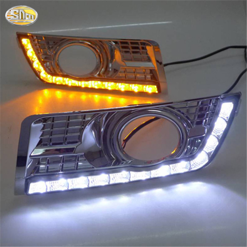 SNCN LED Daytime Running Light for Cadillac SRX 2012 2013 2014 LED DRL with Yellow turning light chrome fog lamp cover цена