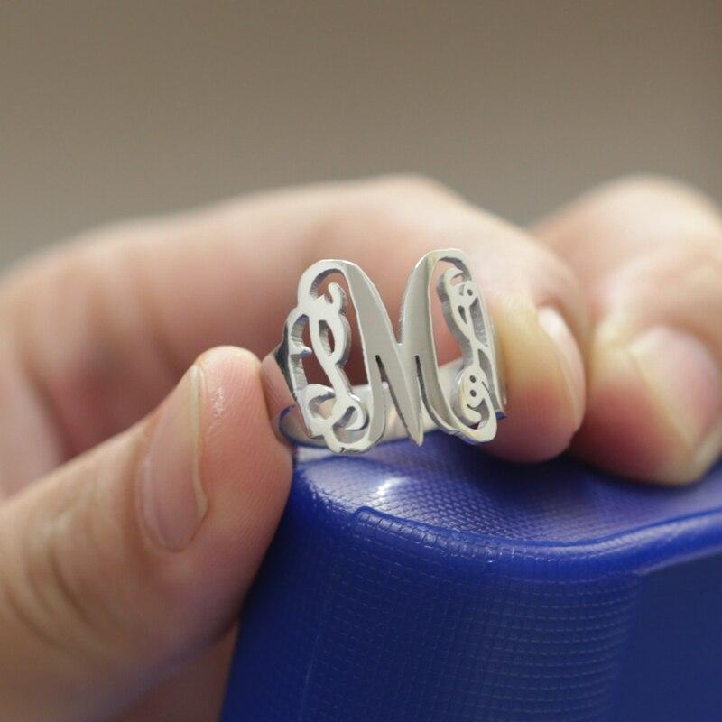 ac1da4ea1 Custom Monogram Name Ring 925 Silver 3 Initals Name Ring Unisex Personalized  Fashion Name Ring Wholesale