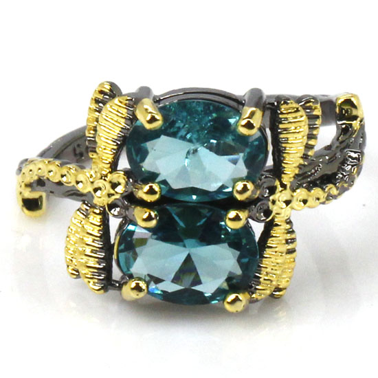 7.5# Vintage Style Rich Blue Aquamarine Womans Gift Black Gold Silver Ring 13x12mm