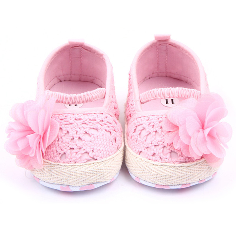 Baby Infant Girl Soft Sole Anti-slip Crochet Knit Newborn Breathable Knitting Fretwork Slip-on Shoes 0-12M
