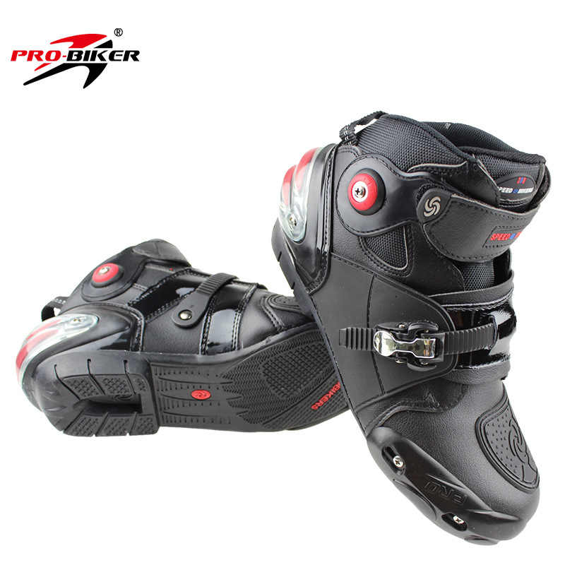 070bfc78c4ab1c ... Motorcycle Boots PRO-BIKER High Ankle Racing boots BIKERS leather race  Motocross Motorbike Riding boots