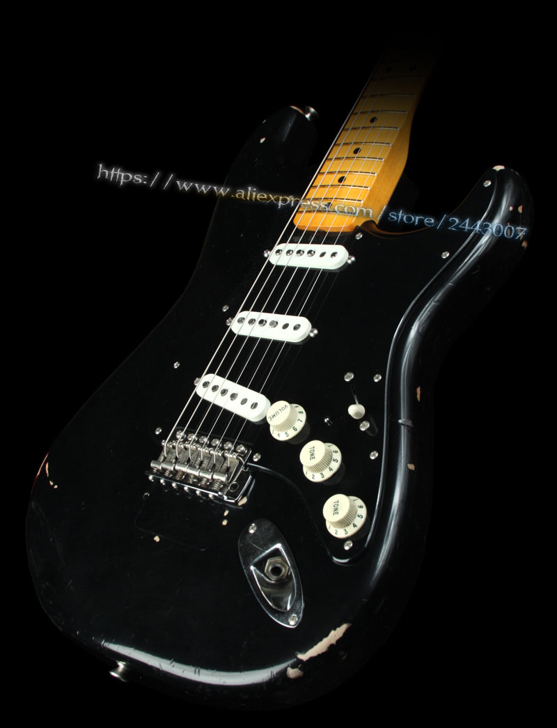 GC Custom Shop Artist Series Pink Floyd David Gilmour Black Relic Electric Guitar custom shop handmade telecast electric guitar limited andy tele version master build relic tl guitar boom switch h s control
