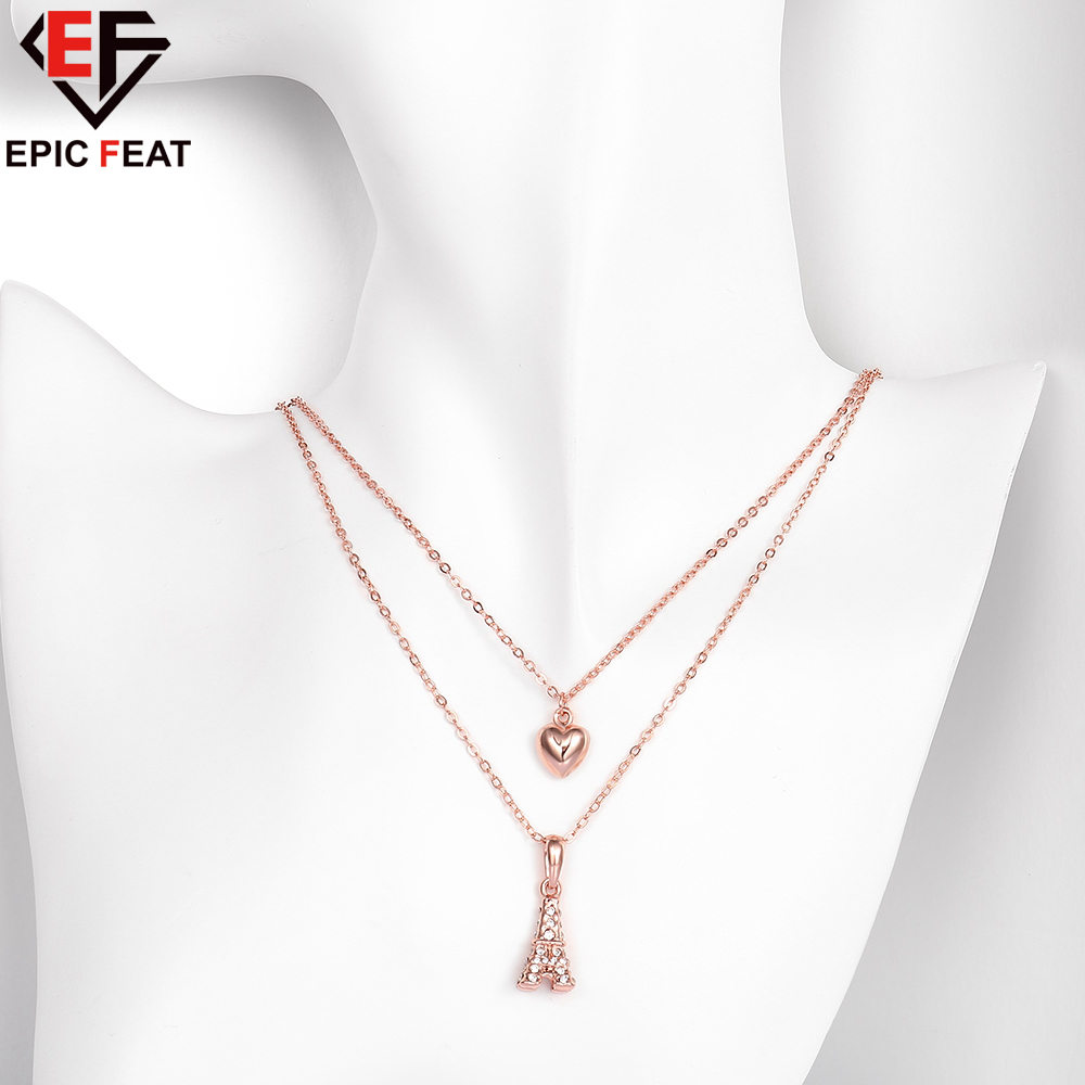 EPICFEAT Luxury Crystal Heart Love Eiffel Tower Pendant Necklace Rose Gold Color Double Chain Women Fashion Jewelry AKN021