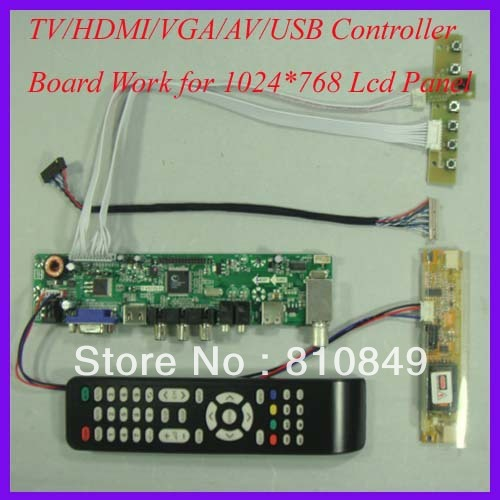 TV/HDMI/VGA/AV/USB/AUDIO Tablero de conductor del LCD de trabajo para 1024x768 2 lámpara de CCFL Lcd Panel