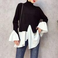 ALPHALMODA Turtleneck Shirt Patchwork Women Fashion Knitted Irregular Jumper Reversible Wear Loose Faux 2pcs Primer Sweater Top