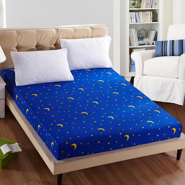 1pc 100%Polyester Fitted Sheet Mattress Cover Printing Bedding Linens Bed Sheets With Elastic Band Double Queen Size 160cm*200cm