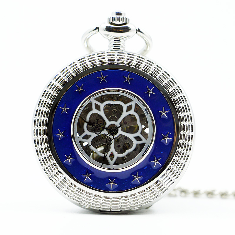 Top Brand Mechanical Pocket Watch Vintage Star Surrounded Handing Fob Chain With Roman Numerals For Men Women PJX1293