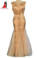 שמלות ערב ארוכות בתוספת גודל 2017 זהב מסיבת חתונת בת ים ארוך עוזרת של כבוד שמלת צווארון V לנשף שמלה עם חגורה