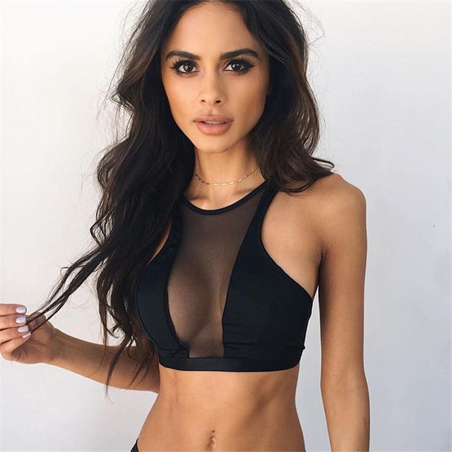 f9788071676a1b Haut Femme Tank Top Women Sexy Bralette Top Workout Bustier Crop Tops  Fashion Ladies Black Mesh