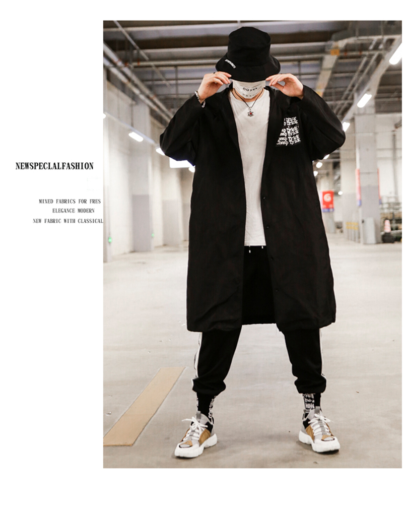 Long Men Trench Coat Casual Spring 2018 Slim Fit white Mens Hood Street South Korea Clothing (3)
