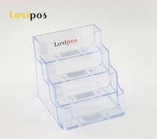 Four Layers Clear Office Exhibition Business Card Holders Name Card Note  Tag Lable Trays Box Acrylic Display Rack Desk Tabletop