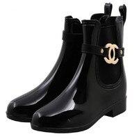 Rubber Shoes Women Rain Boots Girls Ladies Walking Waterproof PVC Women Boots Winter Ankle Martins Rainboots 36 41 Yasilaiya