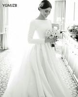 Vestido De Noiva 2019 Muslim Wedding Dresses Long Sleeves A Line White Satin Wedding Gown Saudi Arabic Bride Dress Bridal Gown