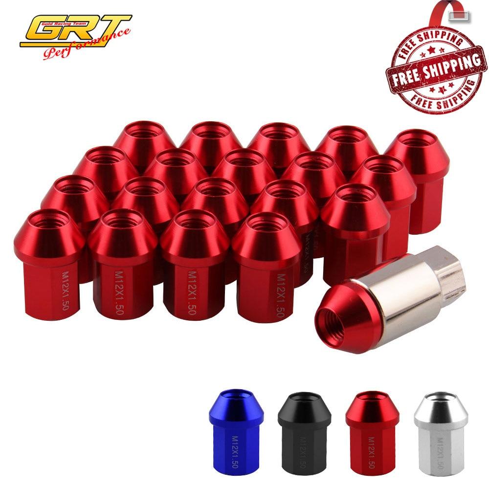 20PC Extended Tuner Wheel Lug Nut Lock Bolt Set for Honda Ford M12X1.5 60MM Red