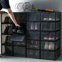 Stackable Thick Transparent Shoe Box Folding Flip Assembly Shoes Storage Box Dust Proof Water Proof Plastic Shoes Cabinet