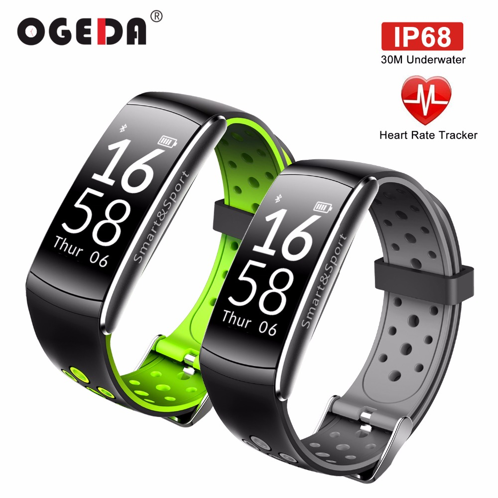 OGEDA Smart Watch Men Heart Rate Monitor IP68 Waterproof Fitness Tracker Blood Pressure Bluetooth for Android IOS Women Man pedometer heart rate monitor calories counter led digital sports watch fitness for men women outdoor military wristwatches