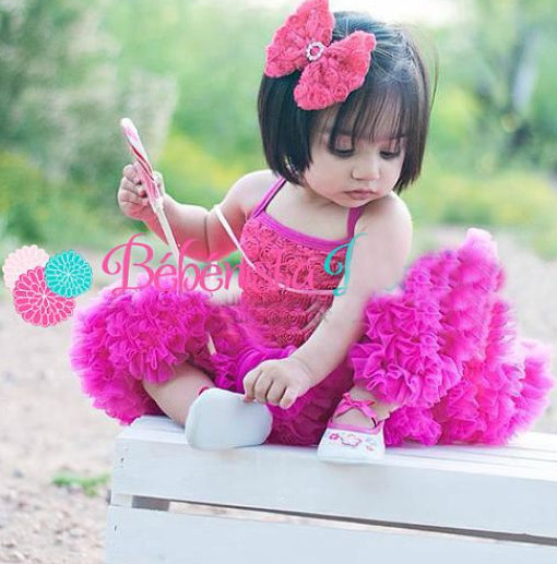 Children Girl Hot Pink Rosette Petti Dress Baby Girl Tutu