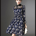 Novas Mulheres marca Primavera Vestido de Chiffon Graciosa Vestidos de Manga Longa Mulheres Vestidos Na Altura Do Joelho-Comprimento de Impressão Suporte Femme Robe de Renda vestido