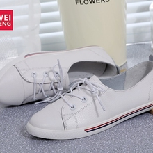 WeiDeng Genuine Leather Women Flats White Soft Soled Pointed