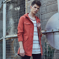 AIOPESON Autumn Slim Fit Men S Windbreakers Big Pocket Solid Color Bomber Jacket High Quality