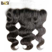 BAISI Body Wave Peruvian Virgin Hair Transparent Lace Frontal Pre-Plucked Natural Hairline with Baby Hair(China)