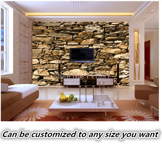 Aliexpress Buy Custom Retro WallcoveringsStone Texture3D Photo Murals For The Living Room Bedroom Restaurant Background Wall Papel De Parede From