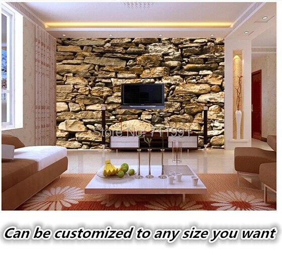 Buy custom retro wallpaper stone texture for The family room steakhouse