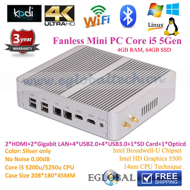 Fanless Portable Linux Mini PC Computer Brushed Alloy Case Intel Core i5 5200U Dual Core  2.2GHz Max 2.7GHz 4GB RAM 64GB SSD